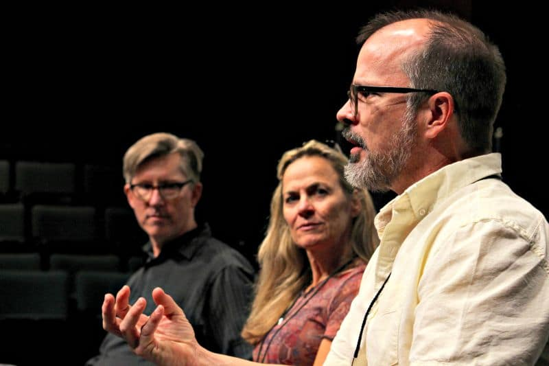 """Douglas Langworthy, far left, hosts the DCPA Theatre Company's """"Persepctives,"""" a public conversation about each new production, on the evening of its first preview performance. Next up: 6 p.m. on April 8 for """"Sweeney Todd"""" in tthe Jones Theatre. Photo by John Moore for the DCPA's NewsCenter."""
