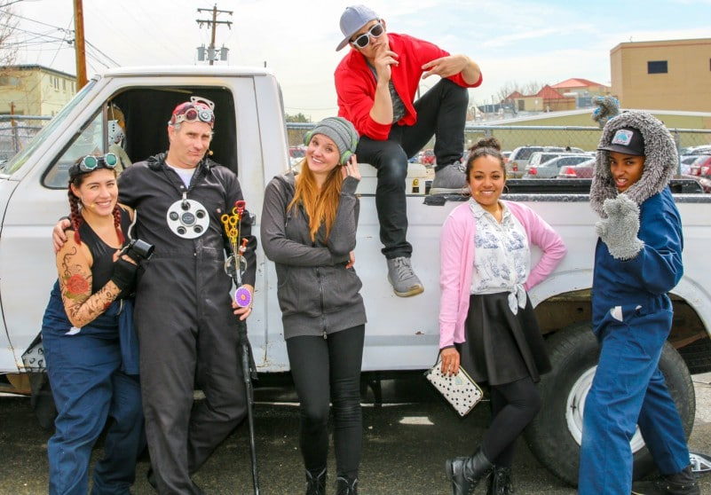The 2018 Shakespeare in the Parking Lot ensemble at Strive Prep, from left: Joelle Montoya, Justin Walvoord, Chloe McLeod, John Hauser, Kristina Fountaine and Kevin Quinn Marchman. Photo by John Moore for the DCPA NewsCente