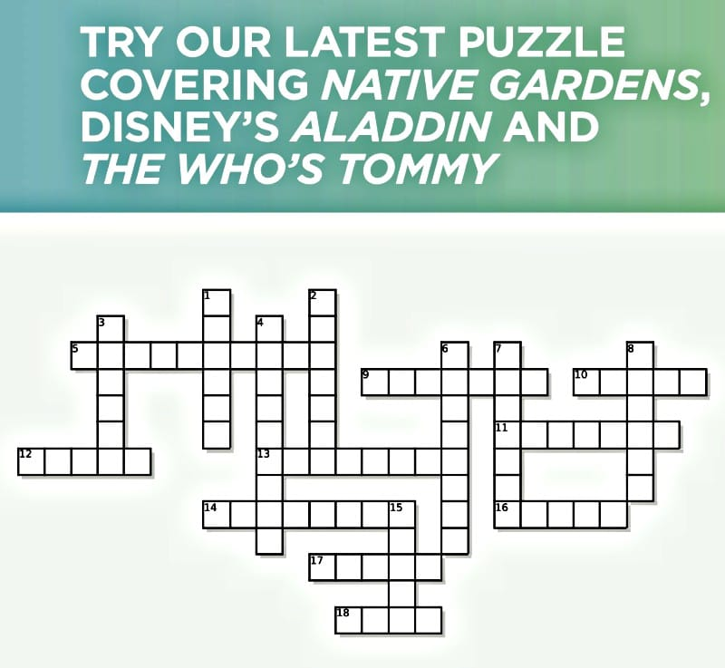 Try Our Crossword Puzzle Tommy Aladdin And Native Gardens
