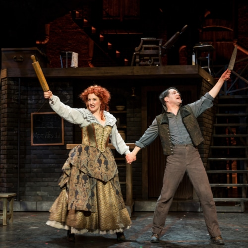 Linda Mugleston and Robert Petkoff in Sweeney Todd, 2016. Photo by Adams VisCom.