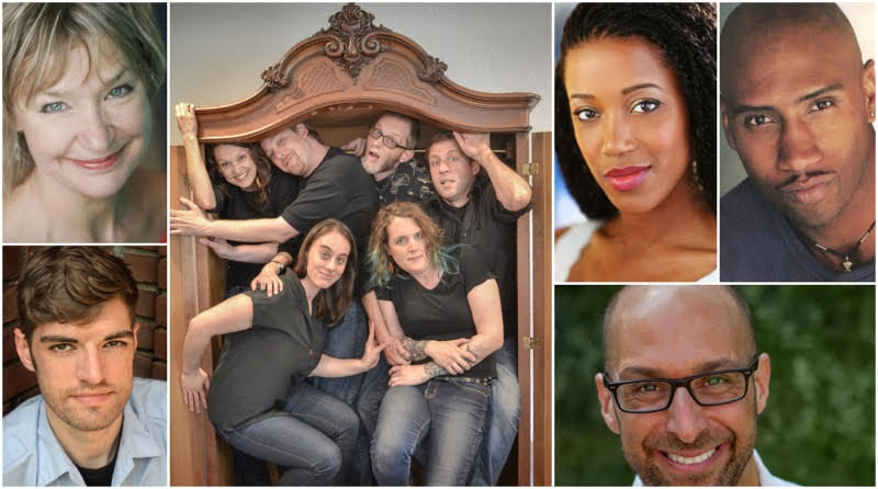Clockwise from top left: Selected 'Bite-Size' playwrights Edith Weiss; Theatre Artibus and Grapefruit Lab; Jeffrey Neuman; co-writers Kristen Adele Calhoun and Theo E.J. Wilson; and Sean Michael Cummings.