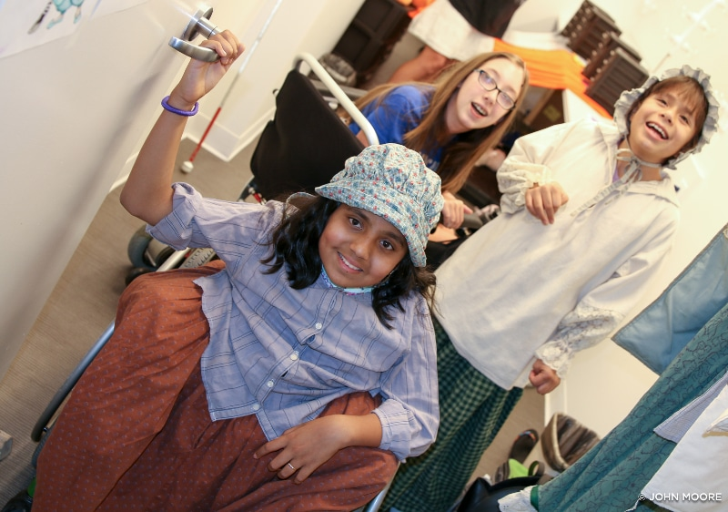 Aloukika Patro shares her 'Into the Woods' dressing room with, from left, Riley Tuttle and Vianca Marez backstage at the Denver Center's Space Theatre. Photo by John Moore.