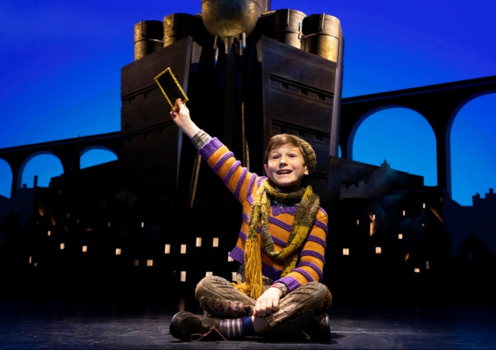 Collin Jeffery as Charlie Bucket. Roald Dahl's CHARLIE AND THE CHOCOLATE FACTORY. Photo by Joan Marcus.