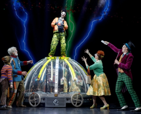 Daniel Quadrino as Mike Teavee and company. Roald Dahl's CHARLIE AND THE CHOCOLATE FACTORY. Photo by Joan Marcus.