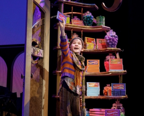 Henry Boshart as Charlie Bucket. Roald Dahl's CHARLIE AND THE CHOCOLATE FACTORY. Photo by Joan Marcus