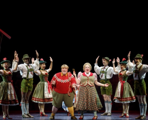 Matt Wood as Augustus Gloop, Kathy Fitzgerald as Mrs. Gloop, and company. Roald Dahl's CHARLIE AND THE CHOCOLATE FACTORY. Photo by Joan Marcus