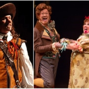 Bill Christ in 'Cyrano,' left starring in Cyrano, and Leslie O'Carroll, right in 'A Christmas Carol,' will be reunited in 'The Whistleblower.' Photos by Terry Shapiro and Adams VisCom.