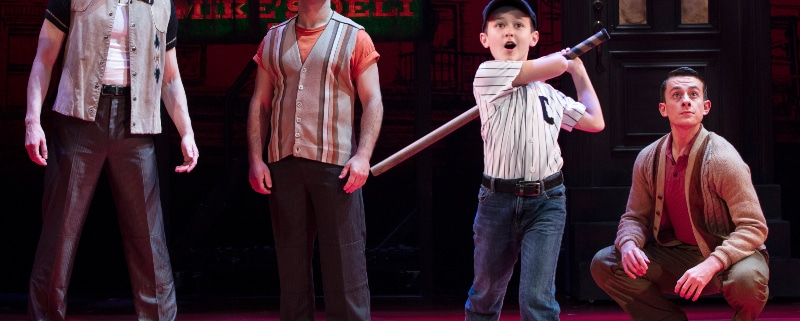 From left: Sean Bell, Joseph Sammour, Frankie Leoni and Joshua Michael Burrage in the national touring production of 'A Bronx Tale.' Photo by Joan Marcus.