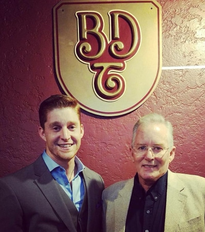 Seamus McDonough with his father, Tim, at BDT Stage