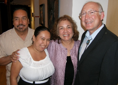 Tony Garcia and Mica Garcia De Benavidez with former U.S. Secretary of the Interior Ken Salazar and his wife, Hope, at Su Teatro. Photo by John Moore