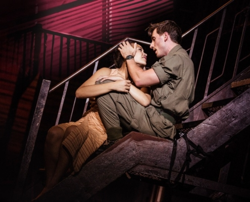 "Emily Bautista as 'Kim' and Anthony Festa as 'Chris' in the North American Tour of MISS SAIGON singing ""Sun and Moon"". Photo: Matthew Murphy"
