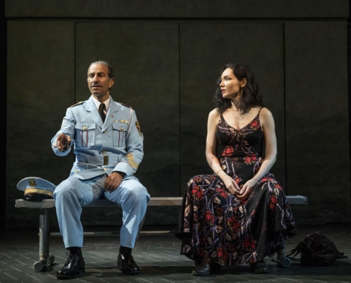 Sasson Gabay and Katrina Lenk in THE BAND'S VISIT, photo by Evan Zimmerman for MurphyMade 2018