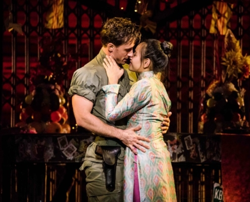 "Emily Bautista as 'Kim' and Anthony Festa as 'Chris' in the North American Tour of MISS SAIGON singing ""Last Night of the World"". Photo: Matthew Murphy"