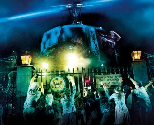 The helicopter lands in 'The Nightmare' in MISS SAIGON. Photo: Matthew Murphy and Johan Persson