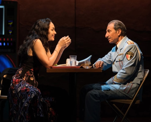 Katrina Lenk and Sasson Gabay in THE BAND'S VISIT, photo by Evan Zimmerman for MurphyMade 2018