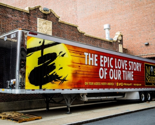 MISS SAIGON North American Tour wrapped truck. Photo: Matthew Murphy