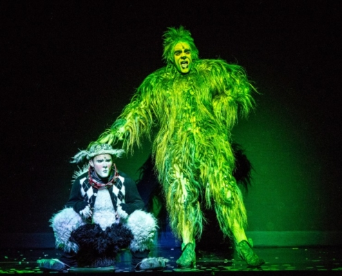 Philip Huffman as The Grinch and the 2016 Touring Company of Dr. Seuss' HOW THE GRINCH STOLE CHRISTMAS! The Musical