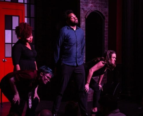 (L - R) (standing) Asia Martin, Terrence Carey, (bowing) Chuck Norment, Sarah Dell'Amico . Photo Credit: Tim Schmidt