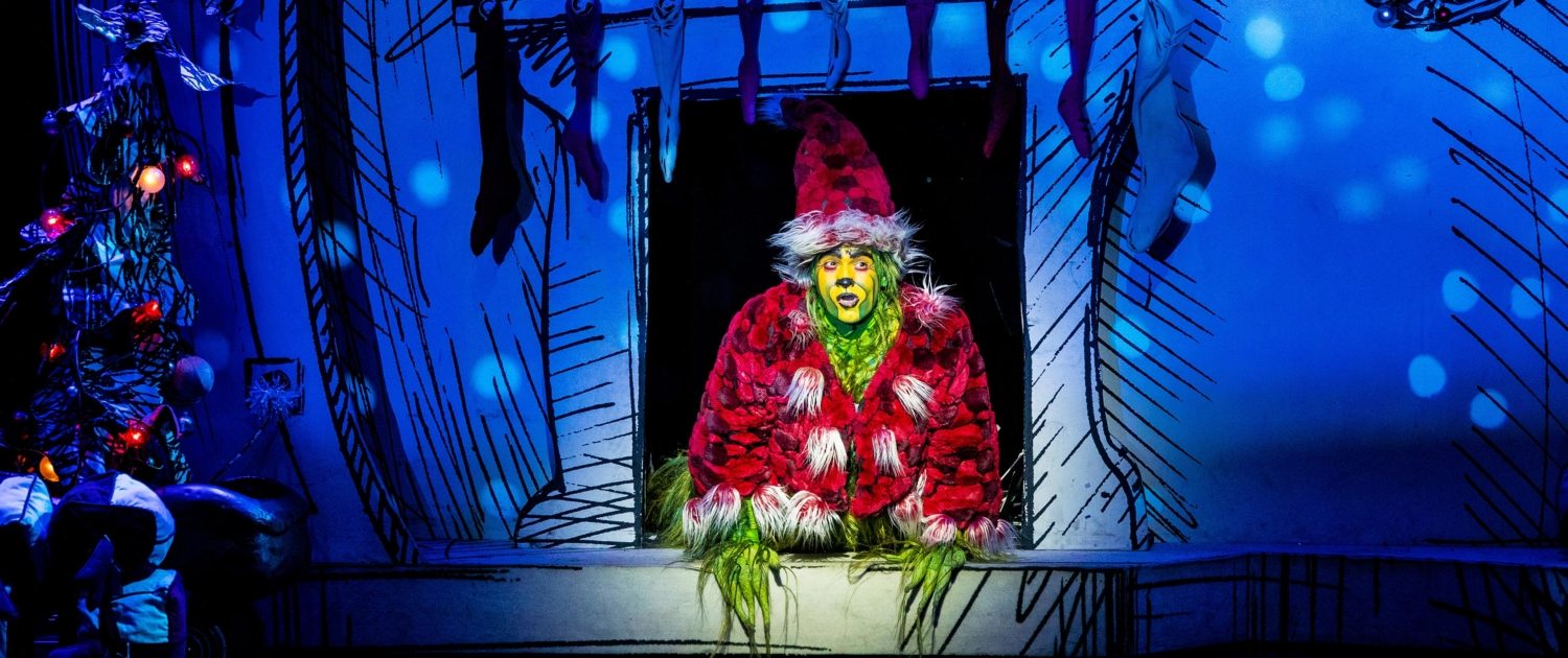Philip Huffman as The Grinch in the 2016 Touring Company of Dr. Seuss' HOW THE GRINCH STOLE CHRISTMAS The Musical