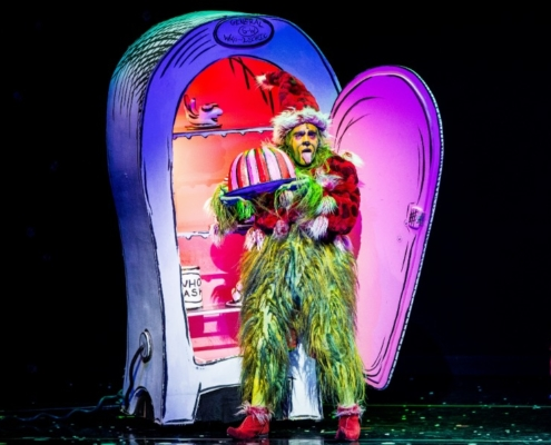 Philip Huffman as The Grinch in the 2016 Touring Company of Dr. Seuss' HOW THE GRINCH STOLE CHRISTMAS! The Musical