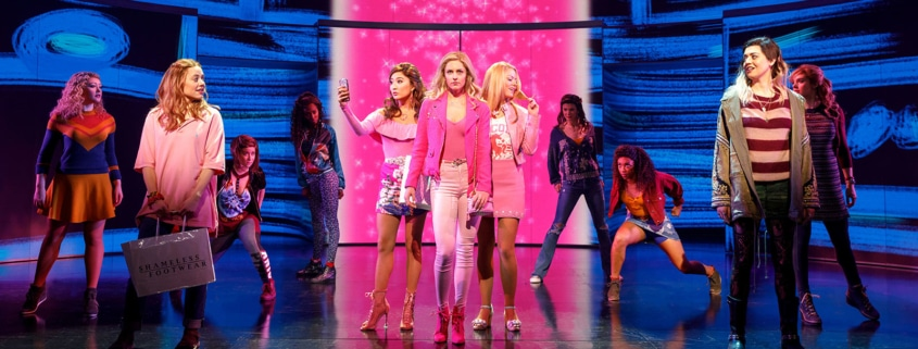 Pictured (L-R): Erika Henningsen (Cady Heron), Ashley Park (Gretchen Wieners), Taylor Louderman (Regina George), Kate Rockwell (Karen Smith), Barrett Wilbert Weed (Janis Sarkisian), and the Company of Mean Girls Credit: © 2018 Joan Marcus