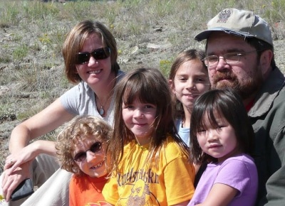 Jeff Carey with his sister, nieces and nephews.