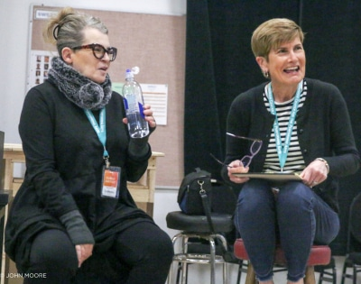 Director Rose Riordan and Research Dramaturg Mary Balair at the first rehearsal for 'Sweat.' Photo by John Moore.