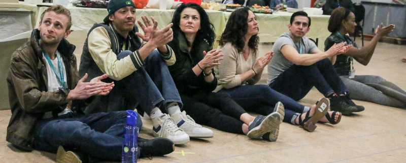 At first rehearsal of Sweat,'. Photo by John Moore.