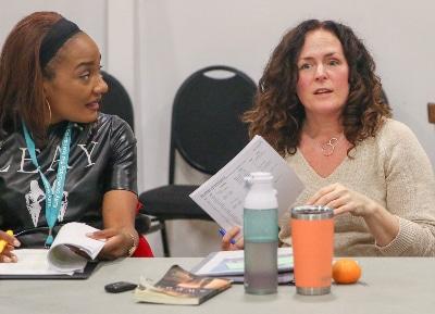 Cycerli Ash and Tara Falk in rehearsal for 'Sweat.' Photo by John Moore