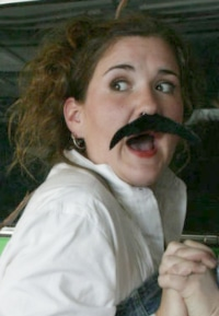 Hannah Duggan as a rather hilarious Aaron the Moor in Buntport Theater's spoof, 'Titus Andronicus: The Musical!'
