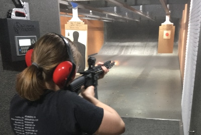 Cast members prepared for And Toto too Theatre Company's 'Show of Force' by visiting a gun range.