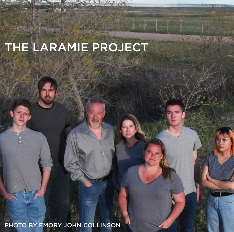 Springs Ensemble Theatre. Laramie Project - Hans Mueh, Matt Radcliffe, David Corder, Jenice Marshall, Kaitlyn Montalvo, Jackson Bailey, and Carmina Paner. PHOTO BY Emory John Collinson