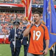 Matthew Dailey Miss Saigon Denver Broncos National Anthem. Photo by John Moore