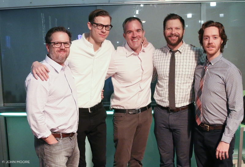 Improvised Shakespeare Opening Night in Denver. Randall Harr, Ross Bryant, Brendan Dowling, Blaine Swen and Josh Logan. Photo by John Moore