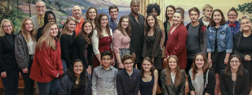 DCPA Education students with actor Derrick Davis Photo by John Moore for the DCPA NewsCenter.