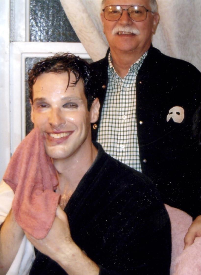 Richard Moore backstage with 'Phantom' actor Hugh Penaro. Courtesy Richard Moore. Moore