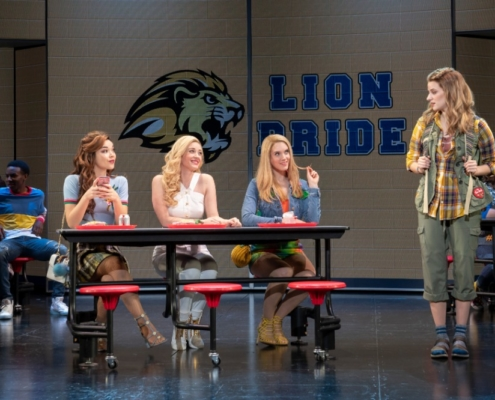 Pictured (L-R): Megan Masako Haley (Gretchen Wieners), Mariah Rose Faith (Regina George), Jonalyn Saxer (Karen Smith), and Danielle Wade (Cady Heron) and the National Touring Company of Mean Girls Credit: © 2019 Joan Marcus