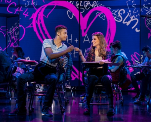 Pictured (L-R): Danielle Wade (Cady Heron) and Adante Carter (Aaron Samuels) in the National Touring Company of Mean Girls Credit: © 2019 Joan Marcus