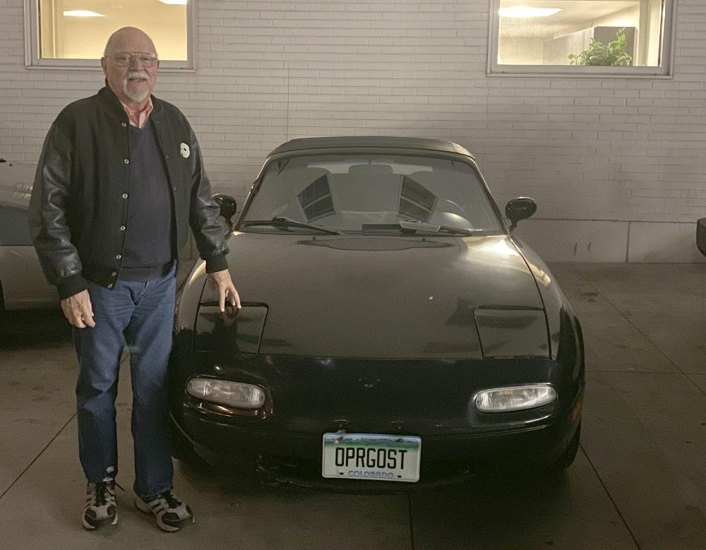 Richard Moore woyj his 'Phantom' license plates. Courtesy Richard Moore.