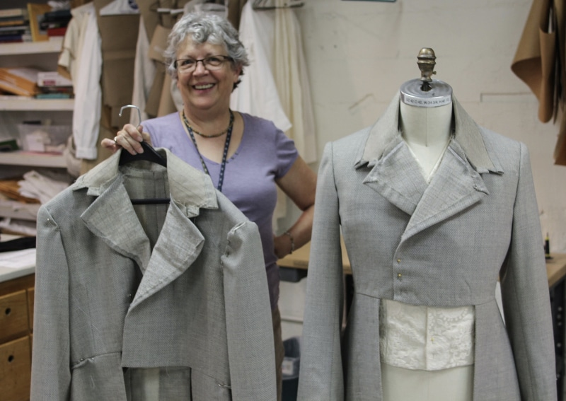 Sheila Morris with the beginnings of her two jackets for two different actors playing Frankenstein in 2016. Photo by John Moore.