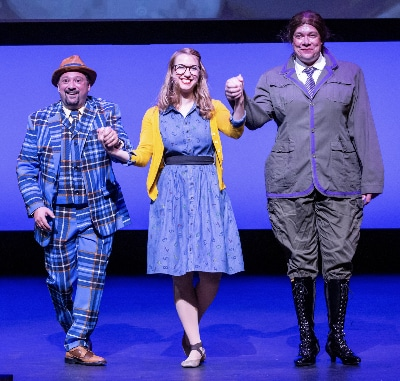 Nathan Halvorson, right, performs as Miss Trunchbull at the 2019 Henry Awards ceremony with Scott RC Levy and Carmen Shedd. RDG Photography