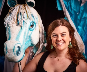 Katy Williams with her winged creaton for the 2014 University student production of 'The Myth of Pegasus.'