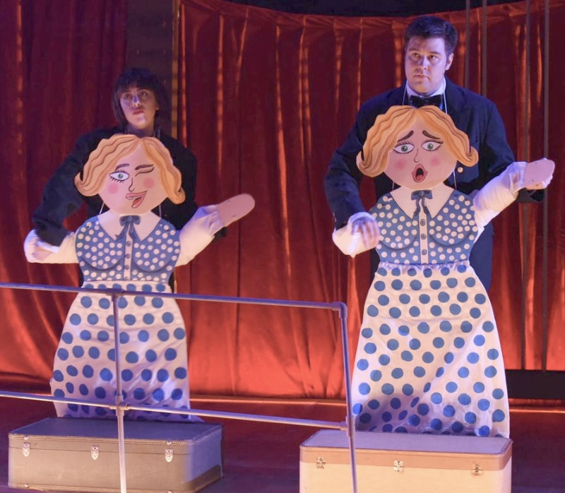 Katy Williams' puppets for Roxy Hart's big number in Chicago. Photo by Michael Ensminger.