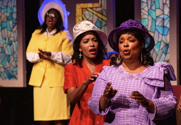 From left: Sonsharae Tull, Jasmine Jackson and Mary Louise Lee in Vintage Theatre's 'Crowns.' RDG Photography.