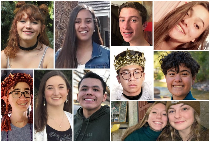 The 2020 class of Scenesters, clockwise from bottom right: The playwriting team of Ruby Brown and Olivia Kelley; Omar Arevalo; Meghan Frey; Connor Yokley; Eliana Howes; Arianna Josue; Conrad Branch; Ellie Olsen; Angela Weddig, and Brandon Guo.
