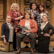 The cast of Curious Theatre's 'The Secretary.' Back row, from left: Leslie O'Carroll, Emma Messenger and Karen Slack. Front row_ Adeline Mann, Kathy Brady and Devon James. Photo by Michael Ensminger.