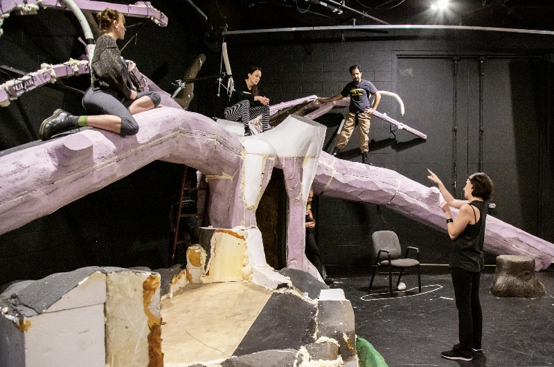 Director Missy Moore leads the cast of 'The Squirrels' in rehearsal for the Aurora Fox's upcoming production.
