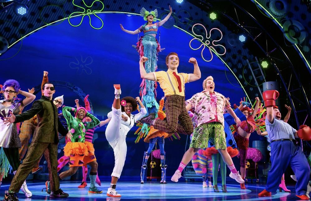 The Company of 'The SpongeBob Musical' sing 'Bikini Bottom Day. Photo by Jeremy Daniel