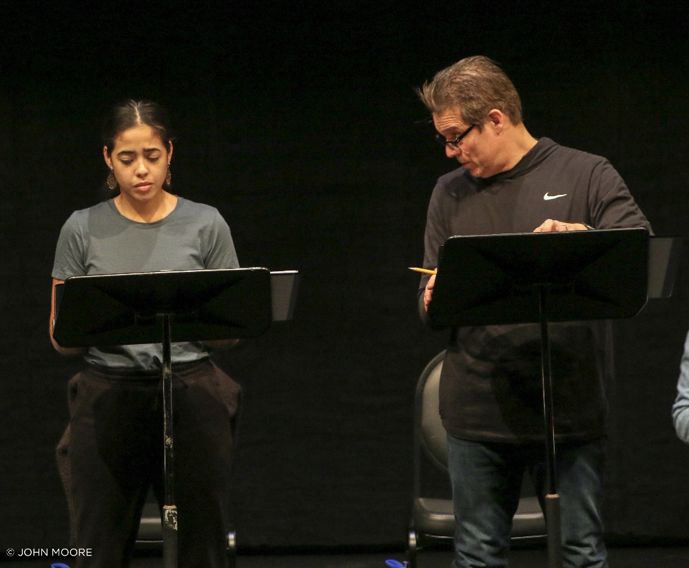 In Her Bones. 2020 Colorado New Play Summit. Valentina Guerra as Mia and Zeus Mendoza as Moises. Photo by John Moore.
