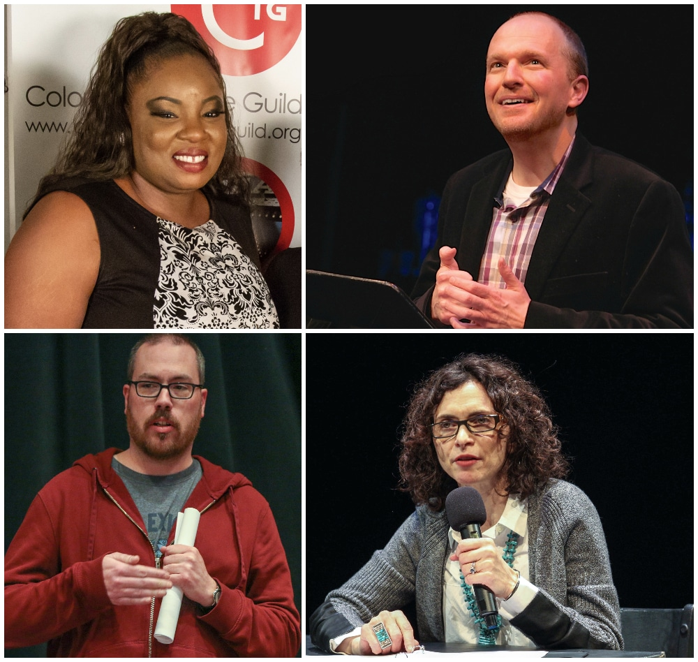 The second class of The Playwrights' Group, clockwise from top left: Kenya Fashaw, Josh Hartwell, Felice Locker and Frank Oteri.